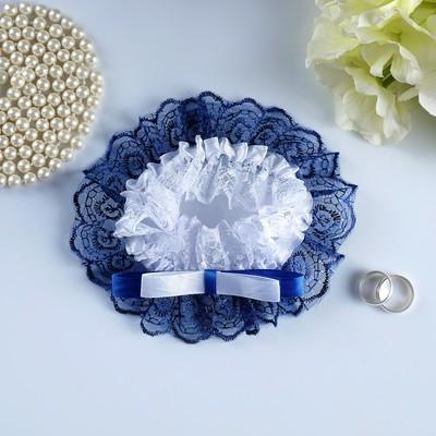 """Подвязка для невесты """"Инь Янь"""", бело-синяя"""