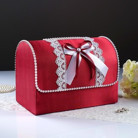 Коробка для денег «Анна», атлас, бордо, неразборная