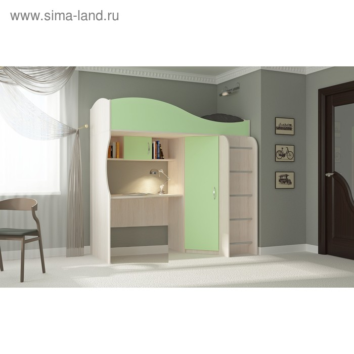 Кровать-чердак Буратино, 1892х1033х1920, зеленый