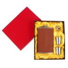 Набор 4в1 (фляжка 300 мл+воронка+2 рюмки), кожзам, классика, коричневый, 17х21.5 см