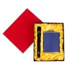 Подарочный набор 2 в 1: фляжка 240 мл, синяя, фонарик, 17х21.5 см