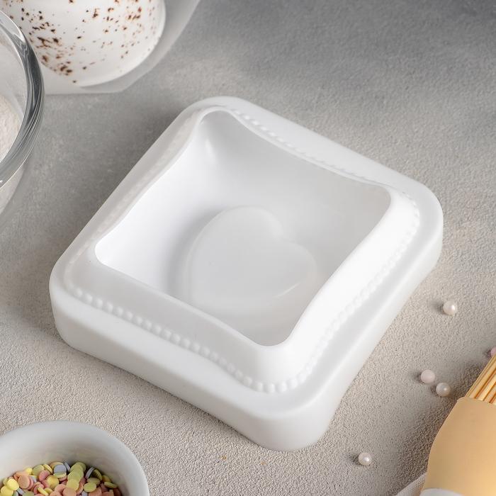 """Форма для муссовых десертов и выпечки 12×11,4 см """"Любовь в квадрате"""", цвет белый"""
