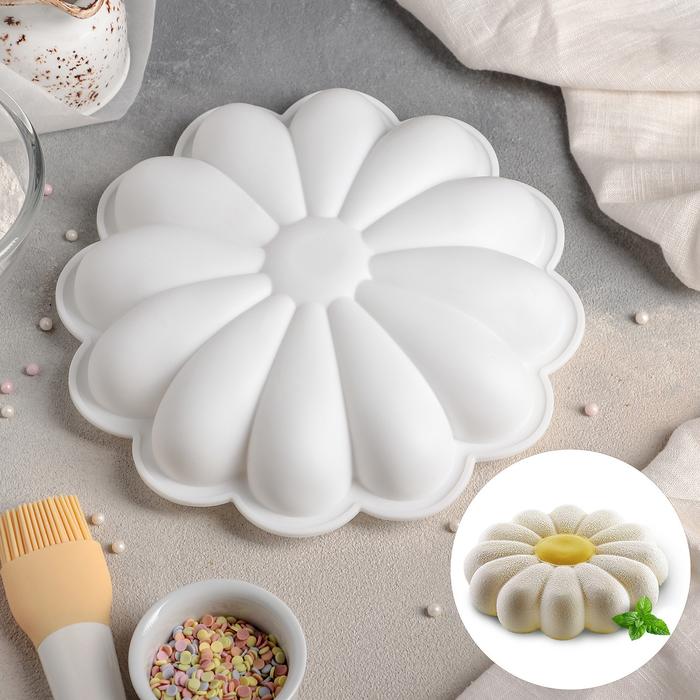 Форма для муссовых десертов и выпечки Доляна «Ромашка», 22×5 см, цвет белый - фото 308045793