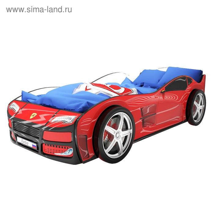 Кровать-машина «Турбо Красная» без подсветки + пластиковые колёса (2 шт)