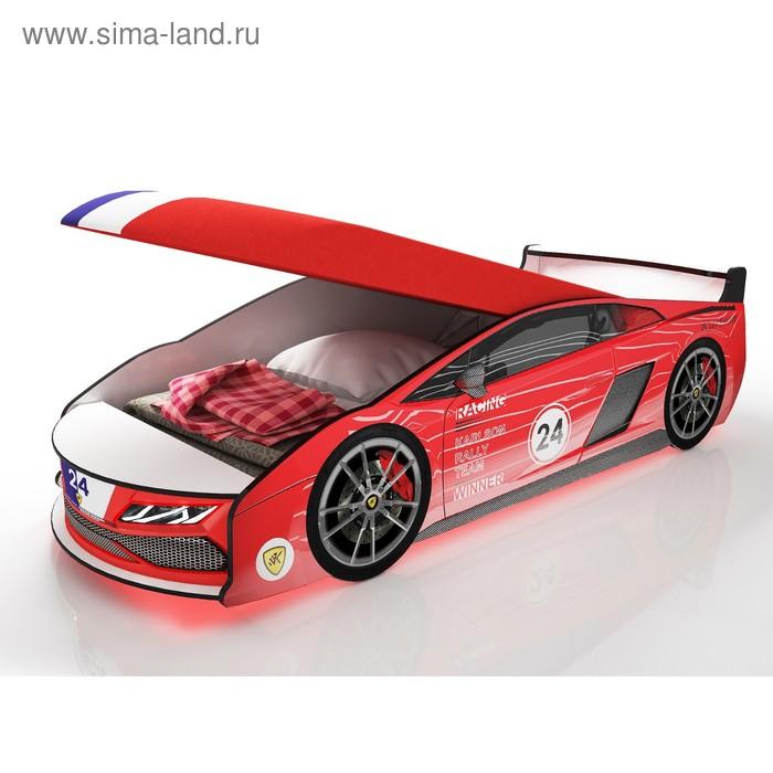 Кровать-машина «Ламба Красная» + матрас,  с подсветкой дна