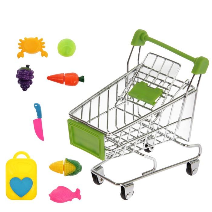 """Тележка для покупок """"Мини-магазин"""" с продуктами для резки, 9 предметов"""