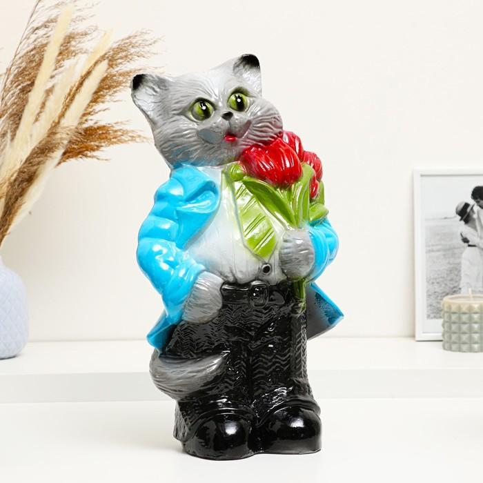 """Копилка """"Кот большой с тюльпанами"""" серый 45см"""