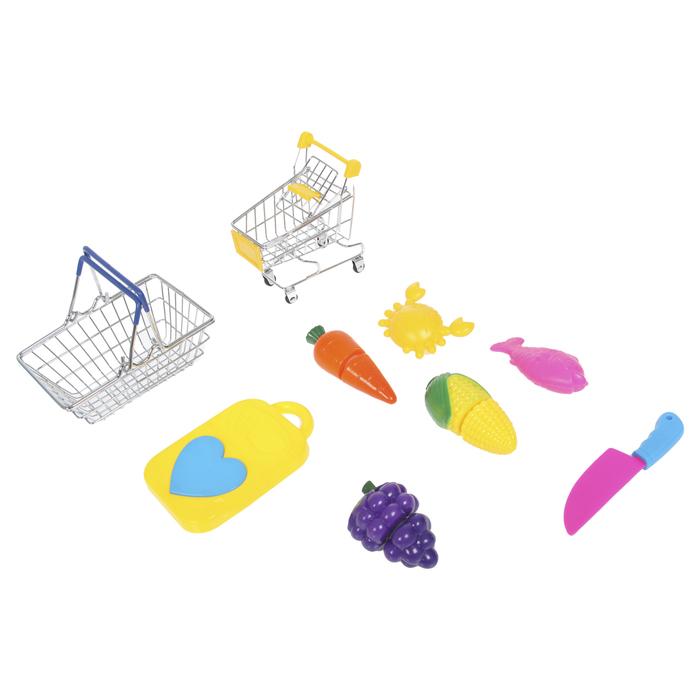 """Игровой набор для покупок """"Мини-магазин"""" с корзинкой, тележкой и продуктами для резки, 9 предметов"""