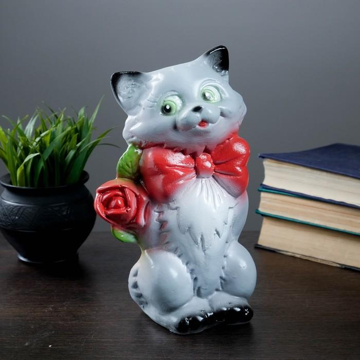 """Копилка """"Котик малый с розой"""" коричневый 20см"""