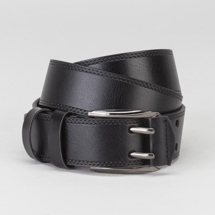 Ремень мужской, винт, пряжка под тёмный металл, 2 прокола, ширина - 4 см, цвет чёрный