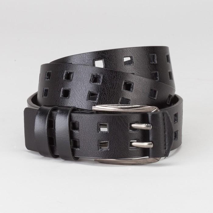 Ремень мужской, пряжка тёмный металл, 2 прокола, ширина - 4 см, цвет чёрный