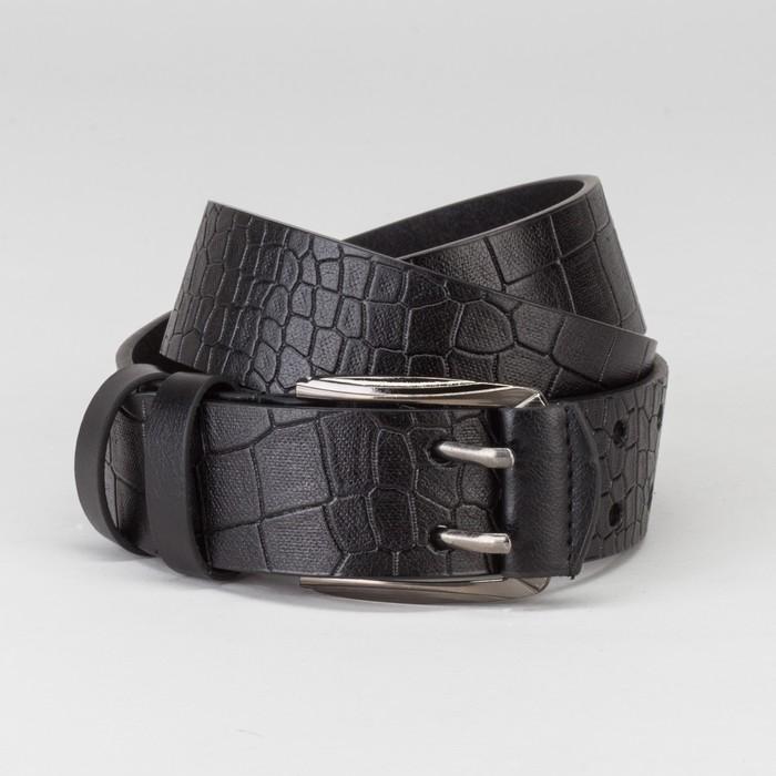 Ремень мужской, рептилия, пряжка тёмный металл, 2 прокола, ширина - 4 см, цвет чёрный