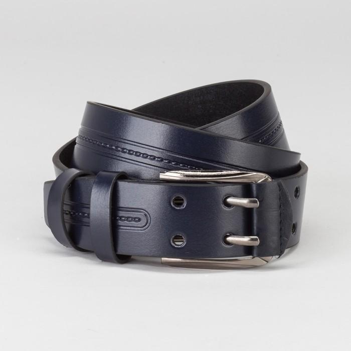 Ремень мужской, пряжка тёмный металл, 2 прокола, ширина - 4 см, цвет синий
