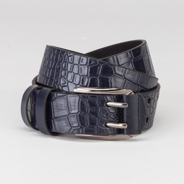 Ремень мужской, крокодил, пряжка тёмный металл, 2 прокола, ширина - 4 см, цвет синий