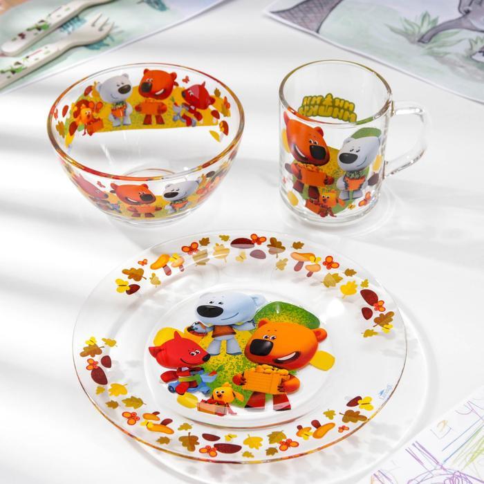 """Набор посуды """"Ми-Ми-Мишки. Веселый урожай"""", 3 предмета: тарелка глубокая 500 мл, тарелка плоская 200 мл, кружка 300 мл"""