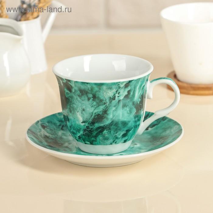 """Чайная пара """"Малахит"""": чашка 210 мл, блюдце"""