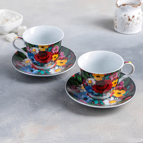 "Tea set ""Russian pattern"" of 4 items: Cup 210 ml, saucer"