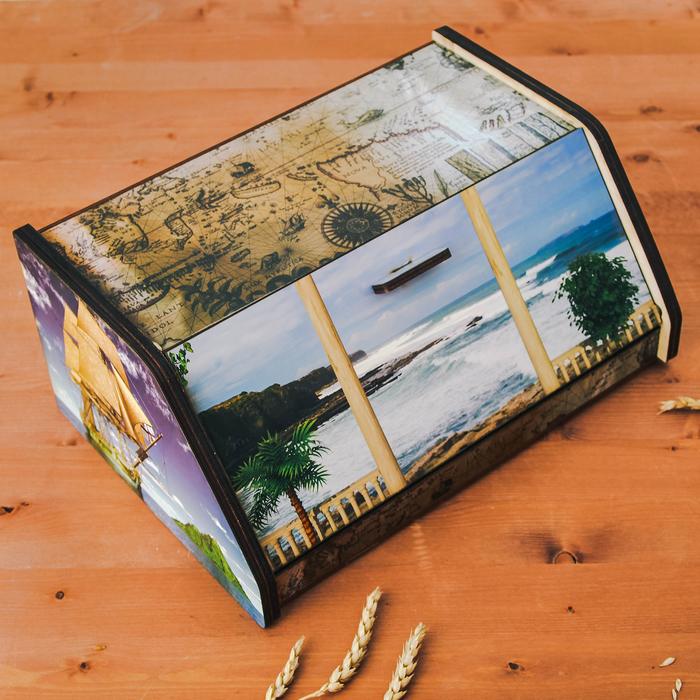 Хлебница «Голубая бухта», 38×27×17 см