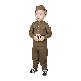 Military costume for boy: shirt, breeches, garrison cap, knit, cotton 100%, height 98 cm, 1.5-3 years