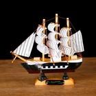 Ship souvenir small, black boards, cabins, 3 masts, white sails striped