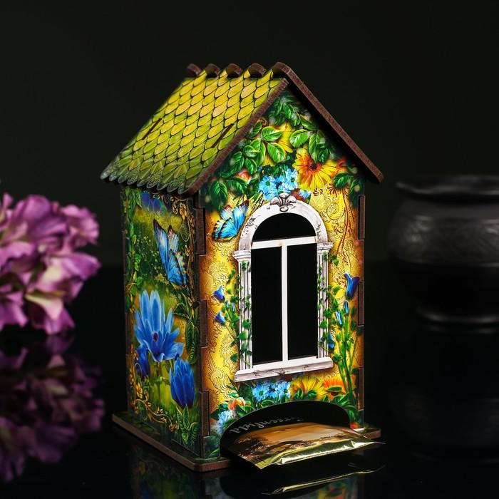 """Чайный домик """"Домик с корзинкой цветов"""", 9,8×9,8×17,4 см"""