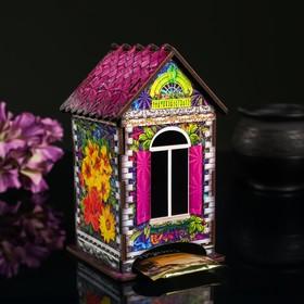 """Чайный домик """"Домик с цветами"""", 9,8×9,8×17,4 см"""