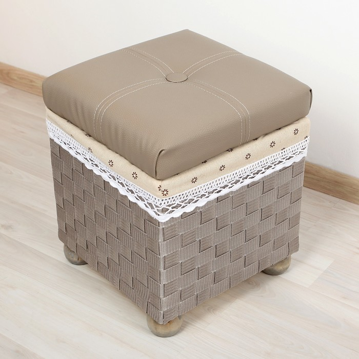"""Короб для хранения (пуф) складной """"Глория"""", большой, цвет серый"""