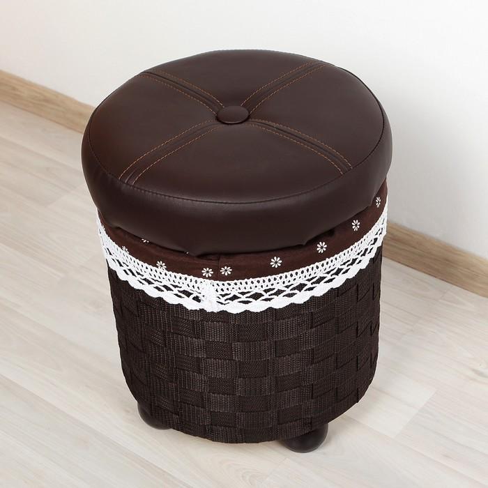 """Короб для хранения (пуф) складной """"Глория"""", большой, круглый, цвет тёмно-коричневый"""