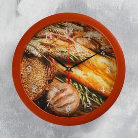 """Часы настенные, серия: Кухня, """"Хлеб"""", 28х28 см"""