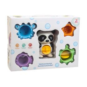 Игрушки для купания «Панда», 5 предметов, на присоске