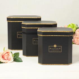 3in1 set boxes, black, 23.5 x 22.5 x 17.5 - 19.5 x 18.5 x 14.5 cm