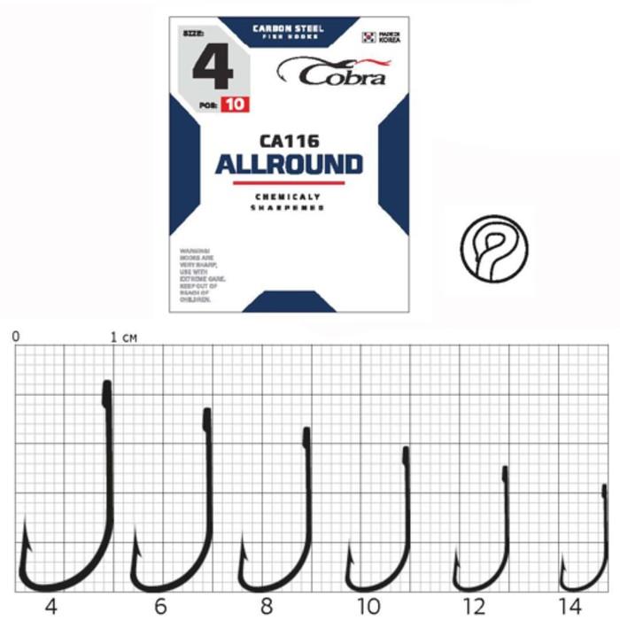 Крючки Cobra ALLROUND серия CA116 №4, 10 шт.