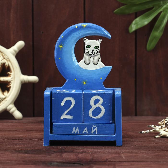 """Деревянный календарь """"Месяц и кошечка""""11х6х15 см"""
