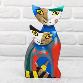 """Souvenir wood """"Couple of cats"""" 9x5,5x19 cm"""