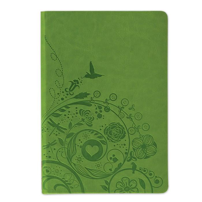 Бизнес-блокнот А5, 128 листов BRAUBERG Feelings, кожзам с тиснением, зелёный