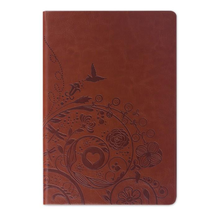 Бизнес-блокнот А5, 128 листов BRAUBERG Feelings, кожзам с тиснением, коричневый
