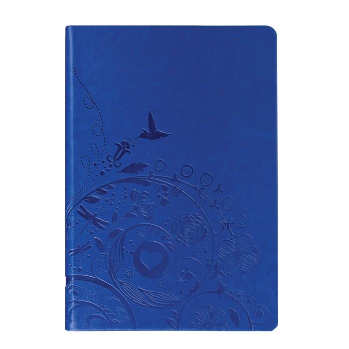 Бизнес-блокнот А5, 128 листов BRAUBERG Feelings, кожзам с тиснением, синий