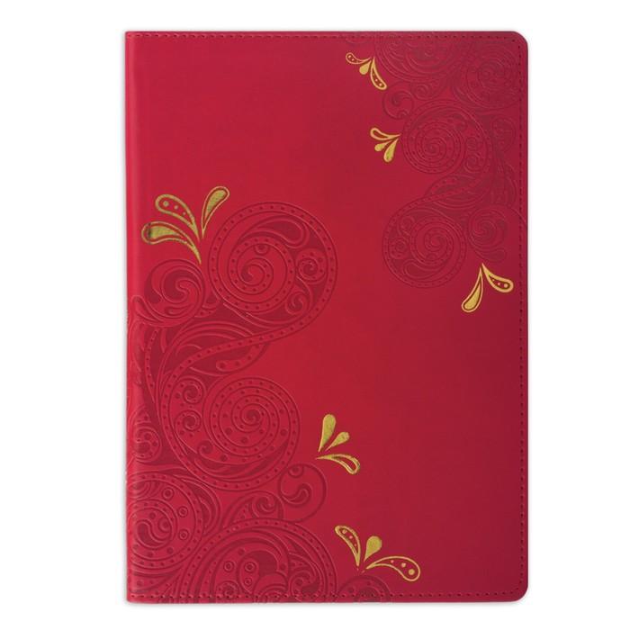 Бизнес-блокнот А5, 128 листов BRAUBERG Orient, кожзам с тиснением, красный