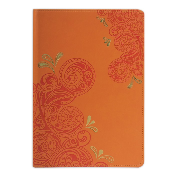 Бизнес-блокнот А5, 128 листов BRAUBERG Orient, кожзам с тиснением, оранжевый