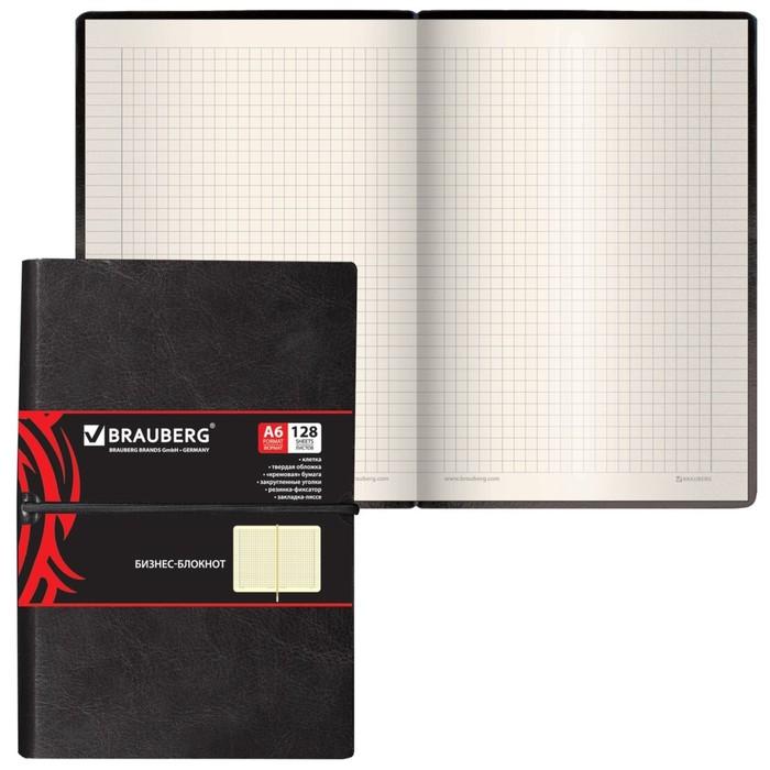 Бизнес-блокнот А6, 128 листов BRAUBERG Black Jack, кожзам гладкий, на резинке, чёрный