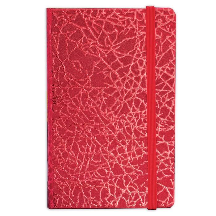 Бизнес-блокнот А7+, 64 листа BRAUBERG Irida, кожзам металлик, на резинке, красный
