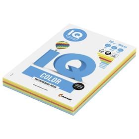 Бумага цветная А4 100 л, IQ COLOR Intensive, 160 г/м2, 5цв*20л, RB02