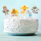 """Топпер в торт """"С Днём рождения"""", зверята, набор 10 шт."""