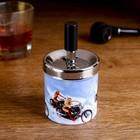 Пепельница бездымная Девушка с мотоциклом, металл, 6,5*11 см