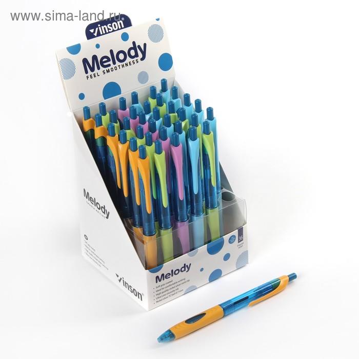 Ручка шариковая авт 0,5мм Vinson корпус МИКС с резин держ стержень масляный синий