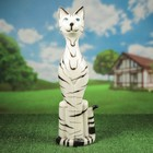 """Садовая фигура """"Уличный кот"""" глянец белый тигр"""