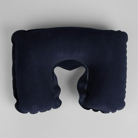 Подушка для шеи дорожная, надувная, 38 × 24 см, цвет синий - фото 4639245