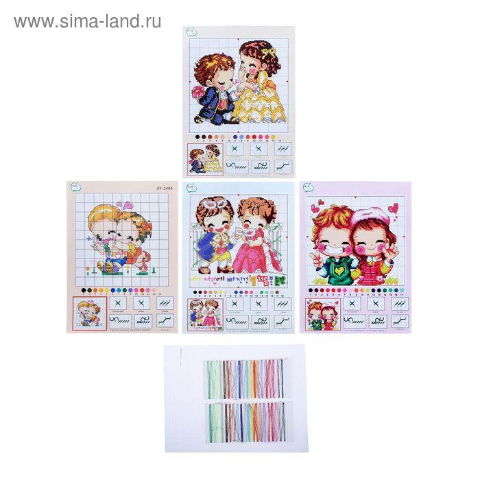 Набор для вышивания детский 2 предмета: нитки, ткань, картинки МИКС