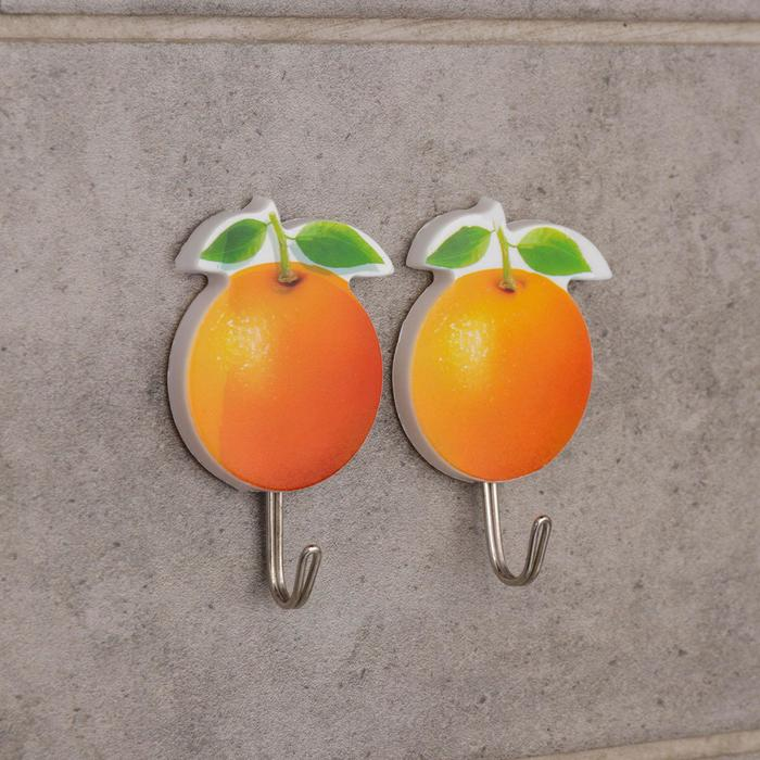 Набор крючков на липучке «Апельсины», 2 шт, цвет оранжевый - фото 8442266