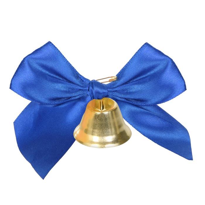 Колокольчик с тёмно-синим объёмным бантом, d=3,6 см - фото 8442281